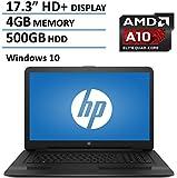 "HP Pavilion 17.3"" Laptop Computer, AMD Quad-Core A10-9600P up to 3.3GHz, 4GB DDR3 RAM, 500BB HDD, DVDRW, USB 3.0, HDMI, Bluetooth, HD Webcam, WIFI, Rj-45, Windows 10 Home"