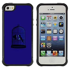 WAWU Funda Carcasa Bumper con Absorci??e Impactos y Anti-Ara??s Espalda Slim Rugged Armor -- dark blue bird cage freedom metaphor deep -- Apple Iphone 5 / 5S