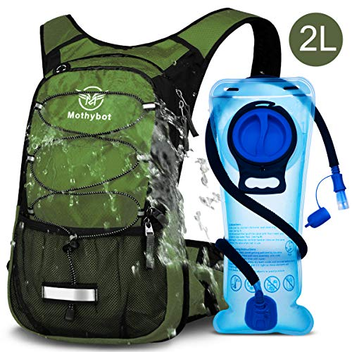Mothybot Insulated Hydration Backpack Pack with BPA Free 2L / 70 OZ Water Bladder Hiking Backpack for Kids, Men and Women- Keep Liquid Cool up to 5 Hours - for Running,Cycling,Camping,Backpacking