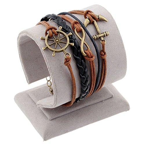 Clothing Square Vintage Bird Owls Anchor Bracelets Wrap Leather Bracelet Charm bracelets pulseira couro bracelets for women,18