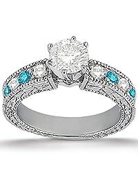 Antique Style Art Deco White and Blue Diamond Engagement Ring in Beautiful Palladium (0.70ct)