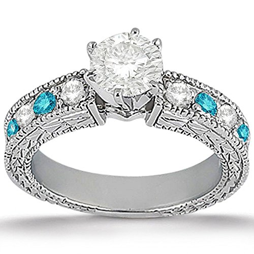 Semi Mount Antique Style Ring (Antique Style Vintage White and Blue Diamond Engagement Ring 14K White Gold (0.70ct))
