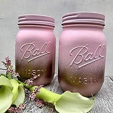 Amazon com: Metallic Gold and Blush Pink Painted Mason Jars