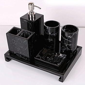 Popular bathroom accessory set resin black - Black marble bathroom accessories ...