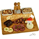 Picnic at Ascot Large Bamboo Cheese Board/Charcuterie Platter with 4 Stainless Steel Tools, 2 Ceramic Trays and 4 Cheese Markers - 16