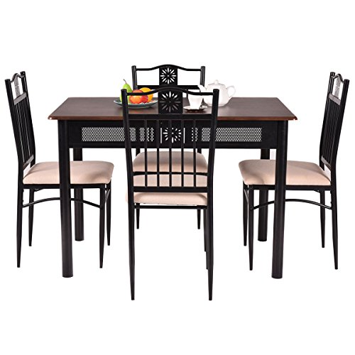 Tangkula 5 piece wood top metal dining table and chairs for Kitchen set node attributes