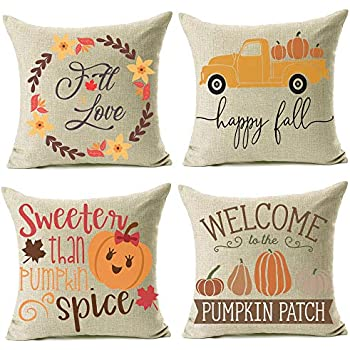 Artmag 16x16 Fall Decor Pillow Covers, Farmhouse Autumn Pumpkin Throw Pillow Shams Decorative Thanksgiving Harvest Cover Cases Set of 4 for Couch