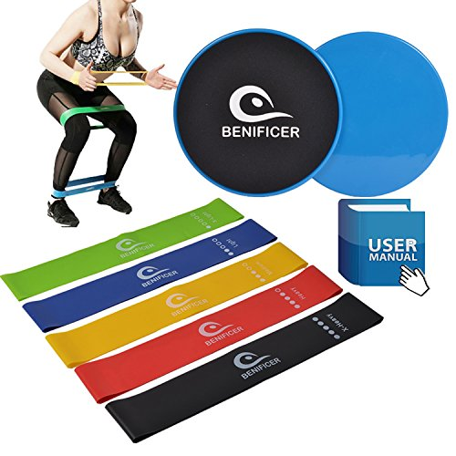 Benificer Core Sliders and Resistance Bands, Set of 5 Exercise Loop Bands with Set of 2 Double-sided Gliding Discs Workout for Fitness Home GYM Yoga,Pilates,Crossfit with Carry Bag and Instruction by Benificer (Image #5)