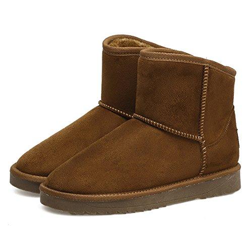cashmere Soil snow female flat flat students yellow shoes boots plus cotton Korean warm boots Snow winter qUxY7T6