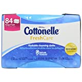 Fresh Care Flushable Cleansing Cloths, White, 3.73 x 5.5, 84/Pack, Sold as 1 Package