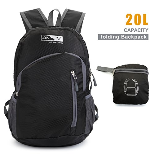 Lightweight Backpack TryAce Traveling Hiking Backpack with Men/Women Folding Daypack for Outdoor Biking Camping (Black)