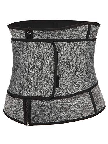 KIWI RATA Abdominal Belt High Compression Zipper Neoprene Waist Trainer Cincher Corset Body Fajas Sweat (Large, Grey)