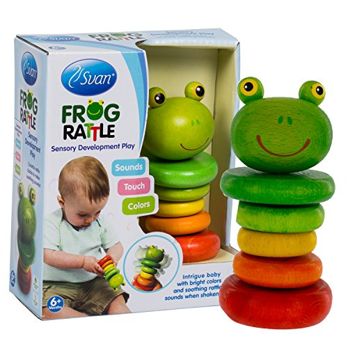 Wooden Frog Rattle by Svan - Solid Wood Clutching and Shaker Toy