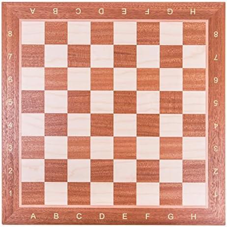 Square - Pro Set de Jeu d'échecs no 4 - Acajou - Échiquier + Pièces d'échecs - Staunton 4