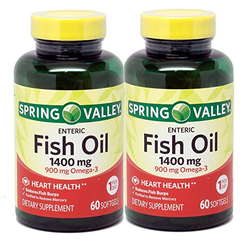 Spring Valley - Fish Oil 1400 mg, Triple Strength, Natural Enteric, 120 Softgels, Twin-Pack (Martin Spring)