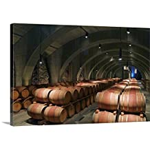 Janis Miglavs Premium Thick-Wrap Canvas Wall Art Print entitled Cave barrel cellar of Mission Hill Family Estate Winery in Kelona, British Columbia