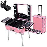 ReaseJoy Pro Trolley Cosmetic Train Case with Light/Support/Mirror Rolling Makeup Box Case Portable Organizer Box Pink