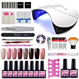Wanna 36W Nail Dryer Curing Nail Gel Polish 8 Colors with Top Coat Base Coat 10ml Nail Art Kit