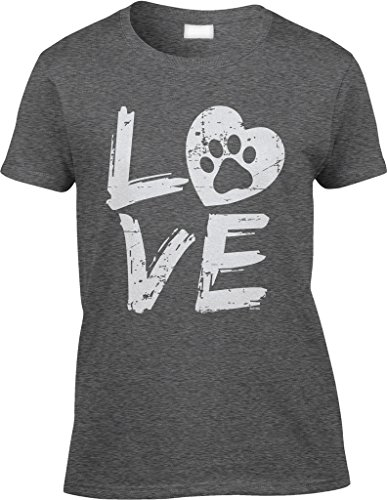 Blittzen Womens/Ladies Love Paw Print In Heart, M, Dark Heather