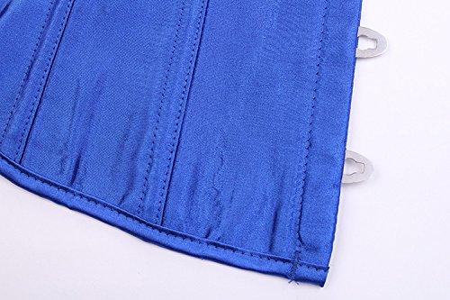 ZAMME mujers Rocker Style Vest Underbust Moda Corsé Reductora cintura Azul