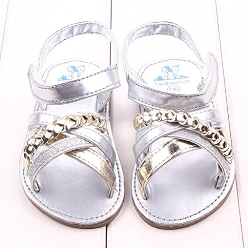 Koly Prewalker Zapatos, primeros pasos para bebé-niñas, sandalias al aire libre de First Walkers (11 cm, Oro) Plata
