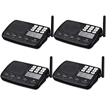 Hosmart 1/2 Mile LONG RANGE 7-Channel Security Wireless Intercom System for Home or Office (2017 New vesion)[4 Stations Black]