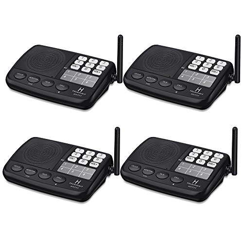 Wireless Intercom System Hosmart 1/2 Mile LONG RANGE 7-Channel Security Wireless Intercom System for Home or Office (2017 New vesion) [4 stationsBlack] by Hosmart