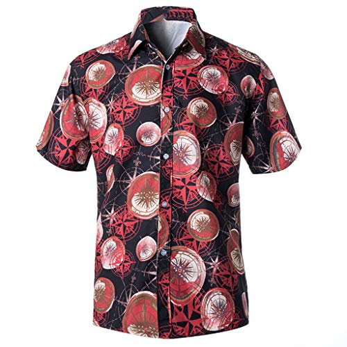 JJLIKER Men's Unisex Hawaiian Short Sleeve Shirt Aloha Floral Graphic Print Casual Button-Down Shirts Beach Party Holiday