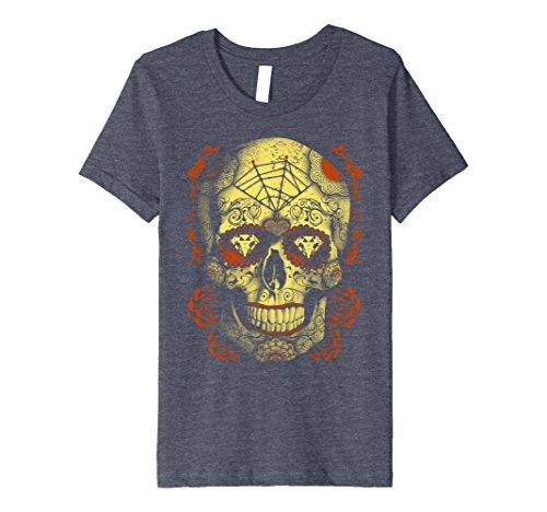 Kids Halloween Full Moon Mojo Sugar Skull Premium T-Shirt 10 Heather (Muerte Sugar Skull Costume)