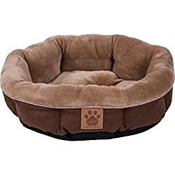 Precision Pet SnooZZy Rustic Elegance Round Shearling Bed Brown