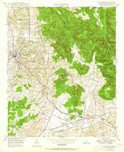 YellowMaps San Marcos CA topo map, 1:24000 Scale, 7.5 X 7.5 Minute, Historical, 1948, Updated 1965, 26.8 x 22 in - Tyvek -
