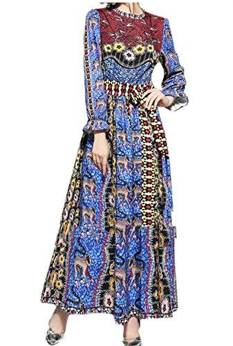 Jaycargogo Manches Lanterne O-cou Féminin Imprimé Floral Ceinturé Accepter Robe Zippée Taille Comme Image