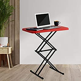 Supreme Scissor Height-Adjustable Multi-Purpose Plastic Table for Work from Home, Study, Dining & Outdoor (Red, Folding…