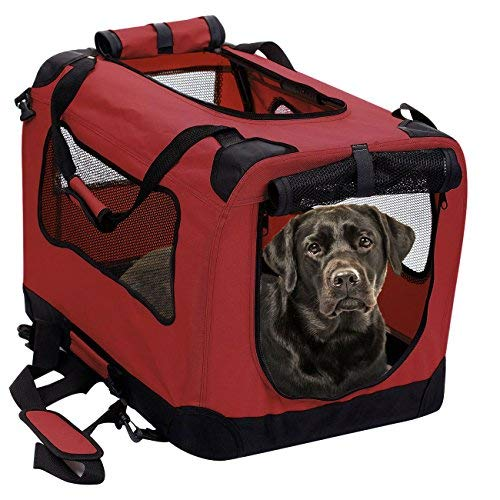 2PET Foldable Dog Crate - Soft, Easy to Fold & Carry Dog Crate for Indoor & Outdoor Use - Comfy Dog Home & Dog Travel Crate - Strong Steel Frame, Washable Fabric Cover, Frontal Zipper XL Red