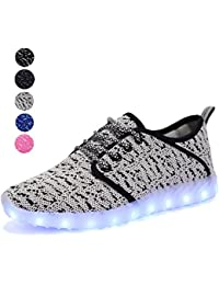 Knitting Light Up Shoes Led Flashing Breathable USB Charging Casual Walking Sneakers for Women and Men
