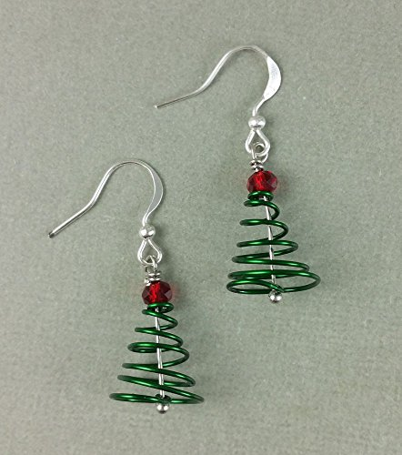 Green Christmas Tree Crystal Sterling Silver Holiday Winter Earrings