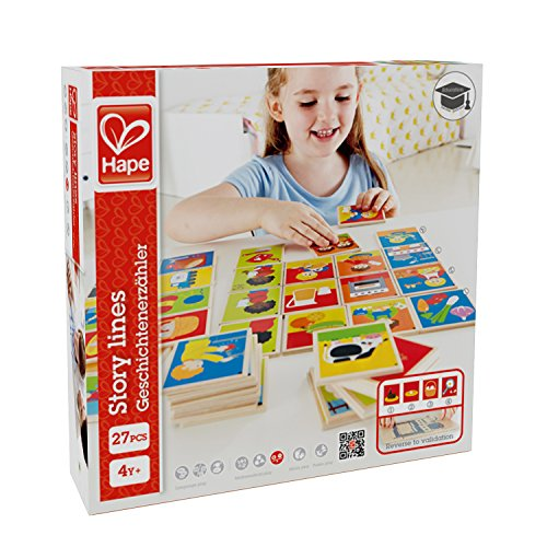 Spanish Alphabet Line - Hape Story Lines Kid's Wooden Card Game