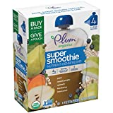 Plum Organics Super Smoothie, Organic Toddler Food, Pear, Sweet Potato, Spinach, Blueberry with Beans & Oats, 16 Ounce (Pack of 4)