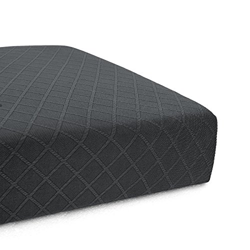 (CHUN YI Stretch Polyester and Spandex Rhombus Cushion Slipcovers Multi-Purpose Couch Chair Seat Cushion Cover for 1-Seater Cushion (Gray, Chair Cushion))