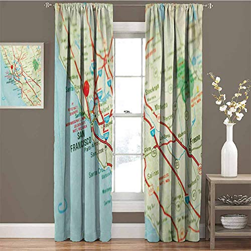 GUUVOR Map for Bedroom Blackout Curtains Vintage Map of San Francisco Bay Area with Red Pin City Travel Location Blackout Curtains for The Living Room W54 x L63 Inch Pale Blue Pale Green Red