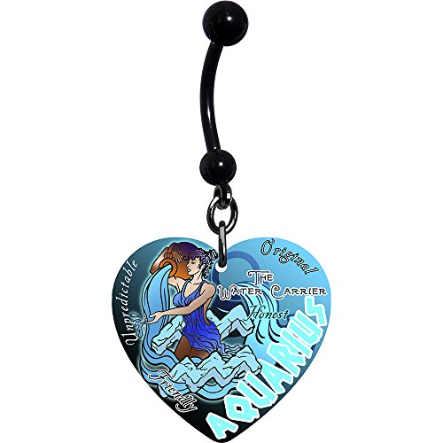 Heart Zodiac Aquarius Belly Ring