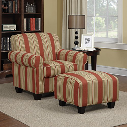 Domesis Winnetka Living Room Accent Chair w/Ottoman Set, Crimson Red Stripe