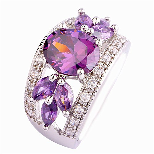 Empsoul 925 Sterling Silver Natural Chic Filled Amethyst & White Topaz Engagement Ring Leaf Shaped