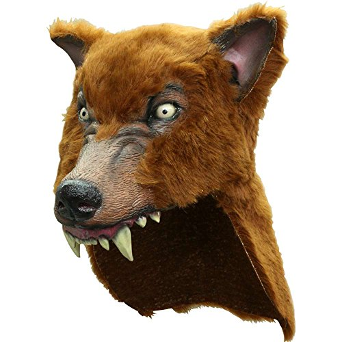 Brown Latex Faux Wolf-Skin Costume Hat