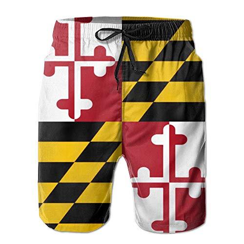 QQMIMIG Mens Quick Dry Shorts Maryland Flag Boardshort Swim Trunk Beach Shorts White