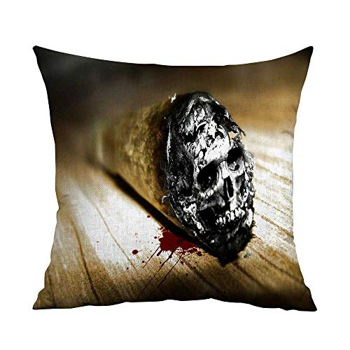 CRICKOOM Cushion Cover Square Home Life Dark Art Artwork Fantasy Artistic Original Psychedelic Horror Evil Creepy Scary Spooky Halloween Wallpaper HDdwqe W19.8 x L19.8,Throw Pillows for Couch]()