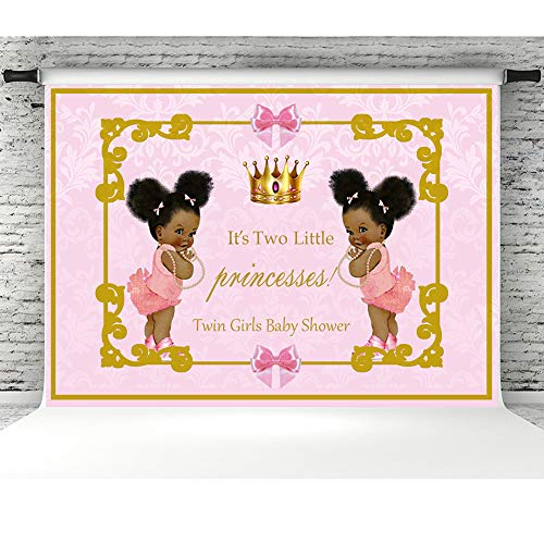 Twin Girls Baby Shower Photo Booth Backdrop 7x5ft Vinyl Royal Pink Twins Princesses Picture Backgrounds for Photography Baby Shower Party Decorations