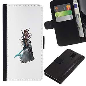 Protector de cuero de la PU de la cubierta del estilo de la carpeta del tirón BY RAYDREAMMM - Samsung Galaxy Note 3 III - Asistente Árbol