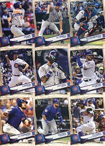 (2019 Topps Big League Baseball Chicago Cubs Team Set of 12 Cards: Anthony Rizzo(#7), Jon Lester(#33), Albert Almora Jr.(#44), Ben Zobrist(#63), David Bote(#66), Kyle Schwarber(#148), Kris Bryant(#160), Javier Baez(#215), Yu Darvish(#254), Willson Contreras(#271), Cole Hamels(#285), Ian Happ(#326))
