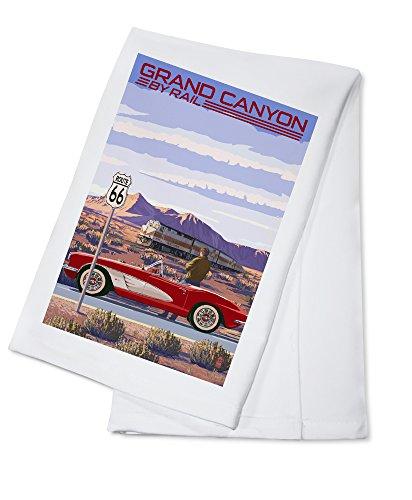 (Grand Canyon Railway, Arizona - Route 66 - Corvette with Red Rocks (100% Cotton Kitchen Towel))